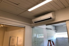 Air conditioning high wall indoor unit installed in main office area